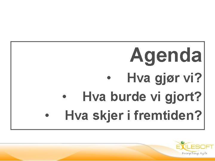 Agenda • Hva gjør vi? • Hva burde vi gjort? • Hva skjer i
