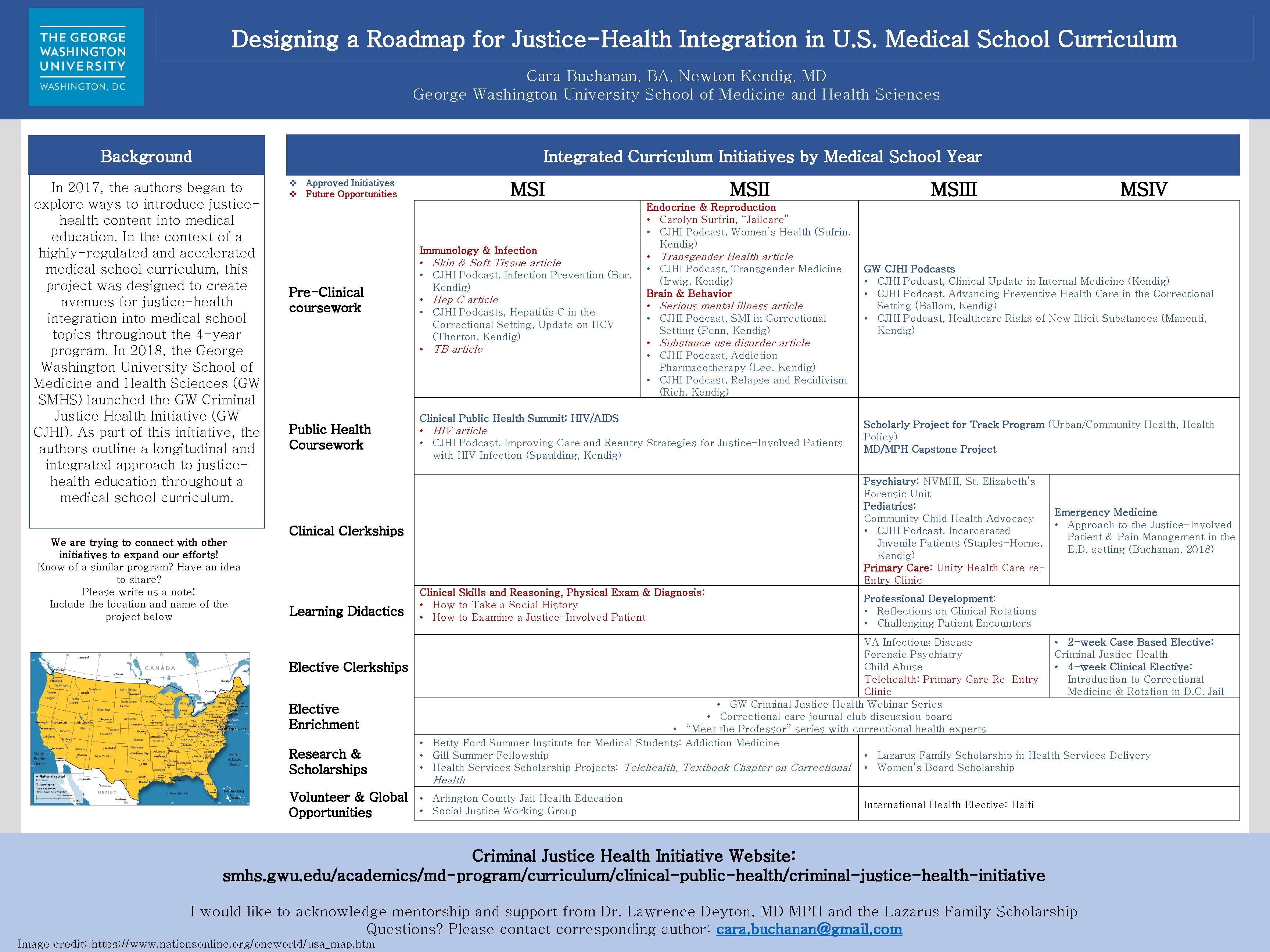 Designing a Roadmap for Justice-Health Integration in U. S. Medical School Curriculum Cara Buchanan,