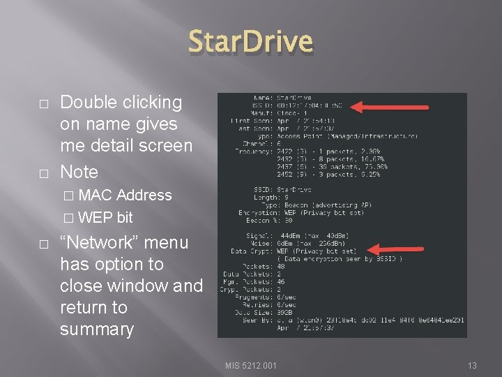 Star. Drive � � Double clicking on name gives me detail screen Note �