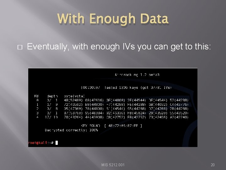 With Enough Data � Eventually, with enough IVs you can get to this: MIS