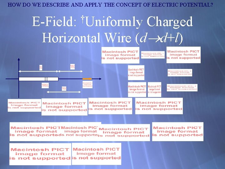 HOW DO WE DESCRIBE AND APPLY THE CONCEPT OF ELECTRIC POTENTIAL? E-Field: †Uniformly Charged