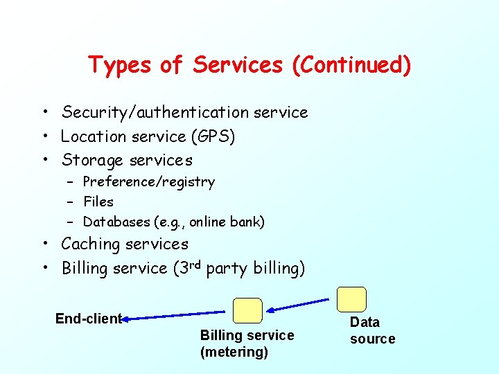 Types of Services (Continued) • Security/authentication service • Location service (GPS) • Storage services