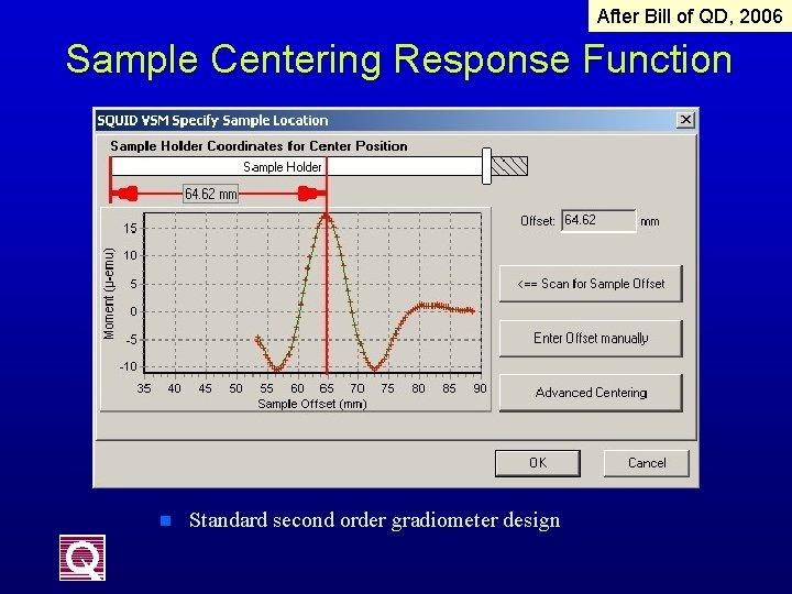 After Bill of QD, 2006 Sample Centering Response Function n Standard second order gradiometer