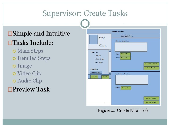 Supervisor: Create Tasks �Simple and Intuitive �Tasks Include: Main Steps Detailed Steps Image Video