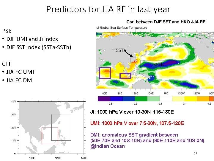 Predictors for JJA RF in last year PSI: • DJF UMI and Ji index