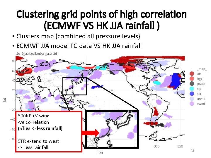 Clustering grid points of high correlation (ECMWF VS HK JJA rainfall ) • Clusters
