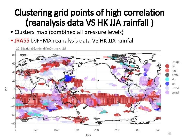 Clustering grid points of high correlation (reanalysis data VS HK JJA rainfall ) •