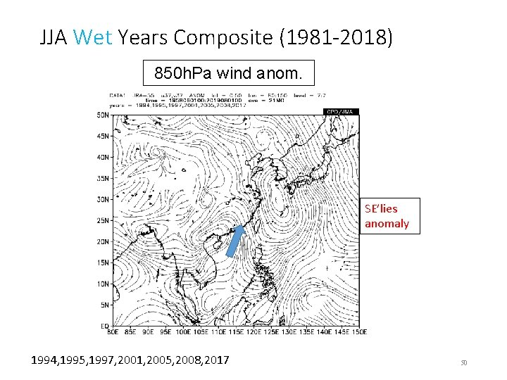 JJA Wet Years Composite (1981 -2018) 850 h. Pa wind anom. SE'lies anomaly 1994,