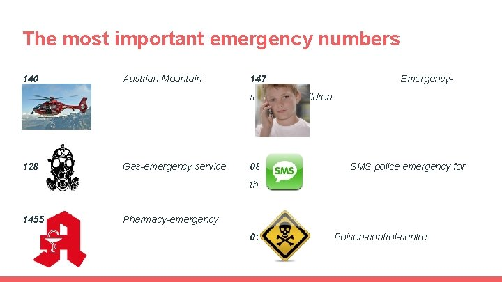 The most important emergency numbers 140 Austrian Mountain Rescue 128 147 Emergency- service for