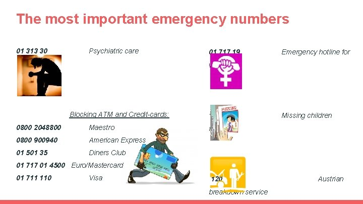 The most important emergency numbers 01 313 30 Psychiatric care 01 717 19 Emergency
