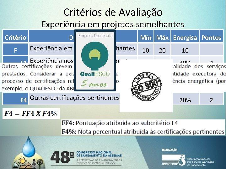 Critérios de Avaliação Experiência em projetos semelhantes Critério Descrição F Experiência em projetos semelhantes
