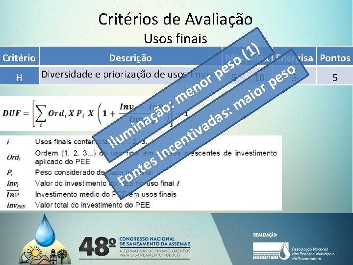 Critérios de Avaliação Usos finais Critério H ) 1 (Máx Energisa Descrição Mín o