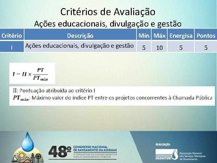 Critérios de Avaliação Ações educacionais, divulgação e gestão Critério I Descrição Mín Máx Energisa