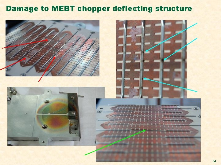 Damage to MEBT chopper deflecting structure 34