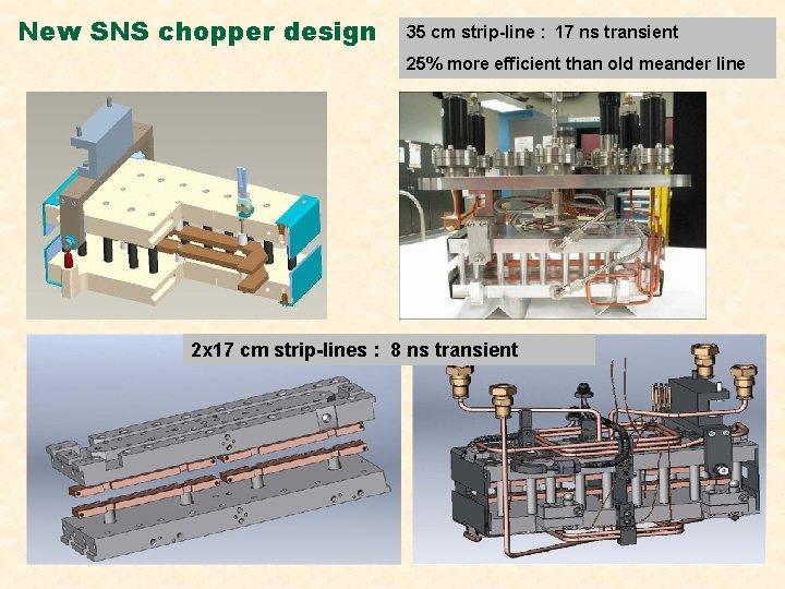 New SNS chopper design 35 cm strip-line : 17 ns transient 25% more efficient