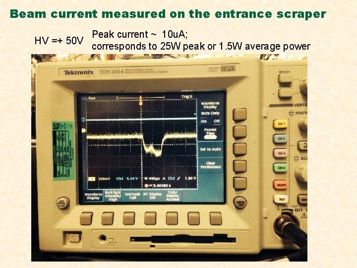 Beam current measured on the entrance scraper Peak current ~ 10 u. A; HV