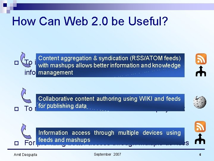 How Can Web 2. 0 be Useful? Content aggregation & syndication (RSS/ATOM feeds) o