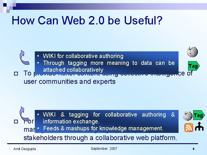 How Can Web 2. 0 be Useful? o • WIKI for collaborative authoring •