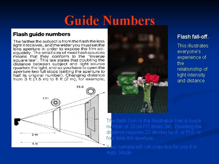 Guide Numbers Flash fall-off. This illustrates everyone's experience of the relationship of light intensity