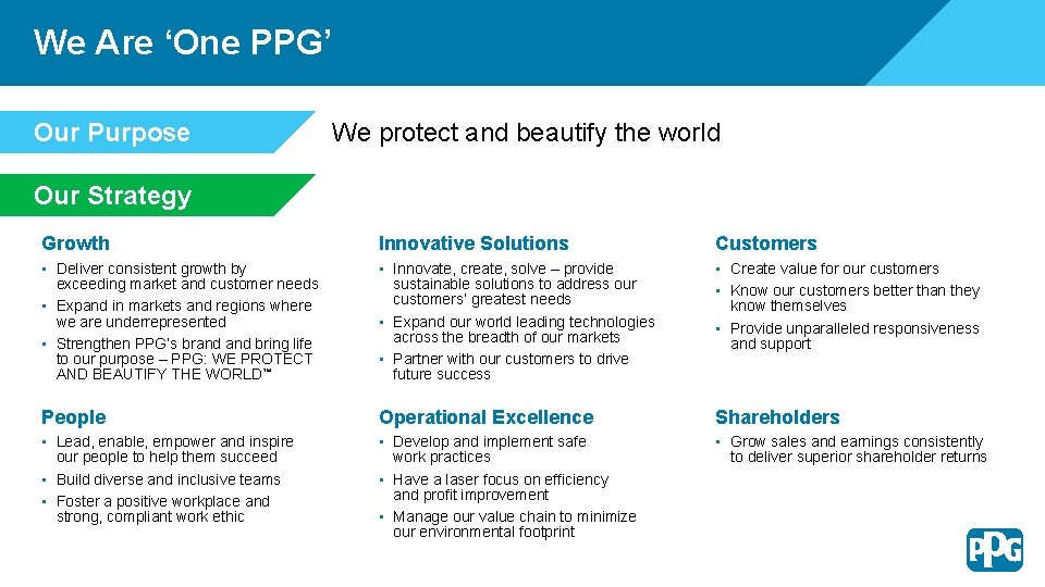 We Are 'One PPG' Our Purpose We protect and beautify the world Our Strategy