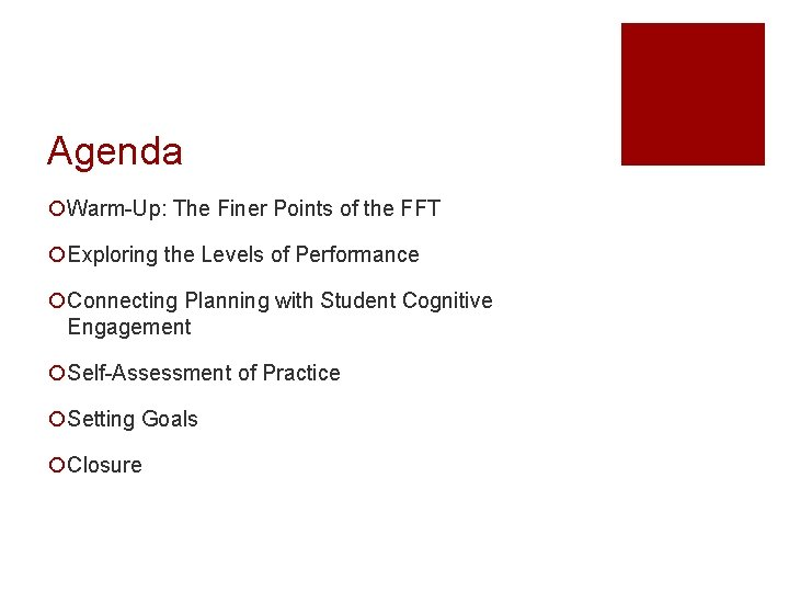 Agenda ¡Warm-Up: The Finer Points of the FFT ¡Exploring the Levels of Performance ¡Connecting