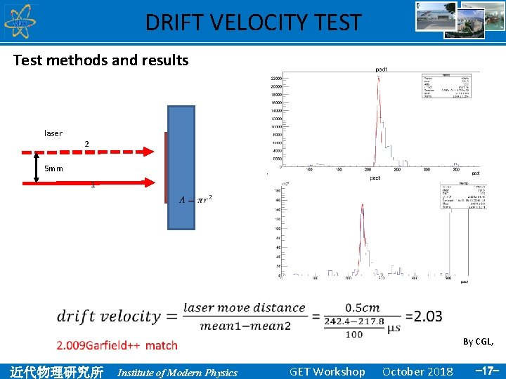 DRIFT VELOCITY TEST Test methods and results laser 2 5 mm 1 By CGL,