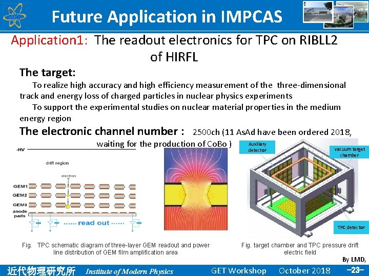Future Application in IMPCAS Application 1: The readout electronics for TPC on RIBLL 2