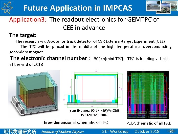 Future Application in IMPCAS Application 3: The readout electronics for GEMTPC of CEE in