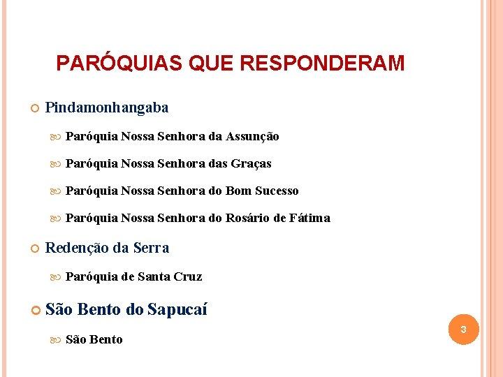 PARÓQUIAS QUE RESPONDERAM Pindamonhangaba Paróquia Nossa Senhora da Assunção Paróquia Nossa Senhora das Graças