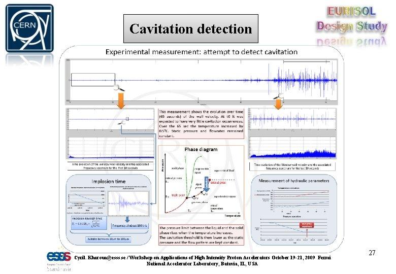 Cavitation detection Cyril. Kharoua@esss. se / Workshop on Applications of High Intensity Proton Accelerators