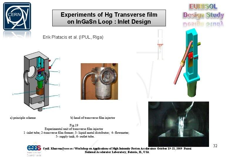 Experiments of Hg Transverse film on In. Ga. Sn Loop : Inlet Design Erik