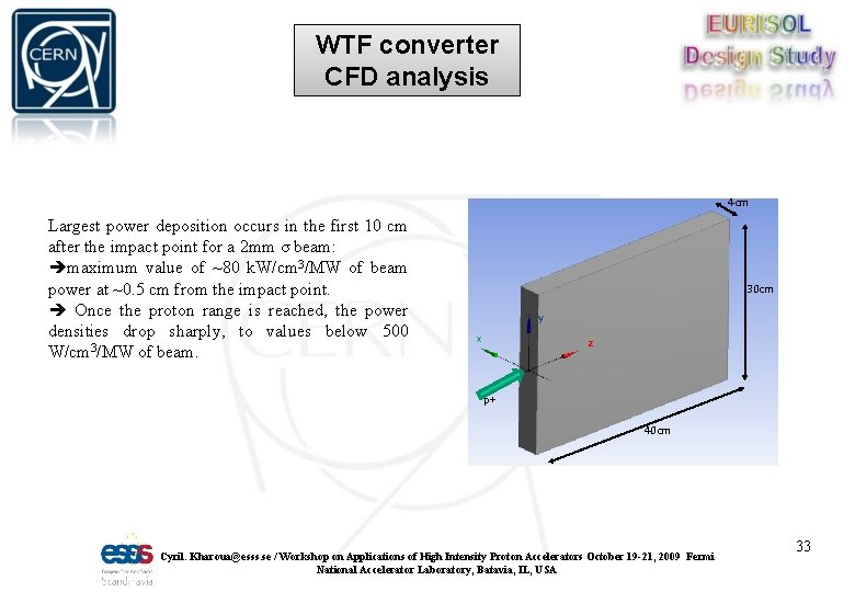 WTF converter CFD analysis 4 cm Largest power deposition occurs in the first 10