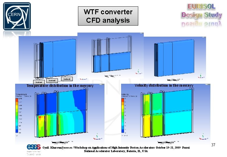 WTF converter CFD analysis Section 1 Section 2 Section 3 Temperature distribution in the