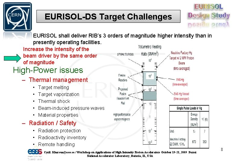 EURISOL-DS Target Challenges EURISOL shall deliver RIB's 3 orders of magnitude higher intensity than