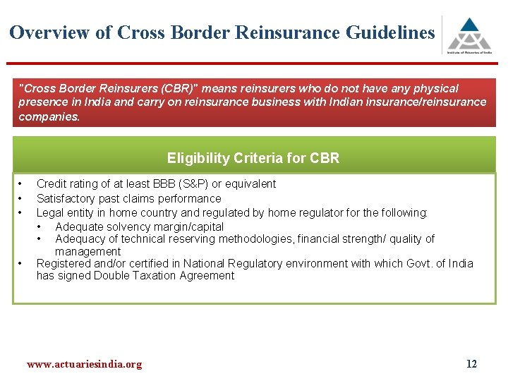 Overview of Cross Border Reinsurance Guidelines