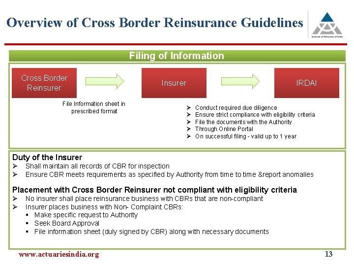 Overview of Cross Border Reinsurance Guidelines Filing of Information Cross Border Reinsurer File Information