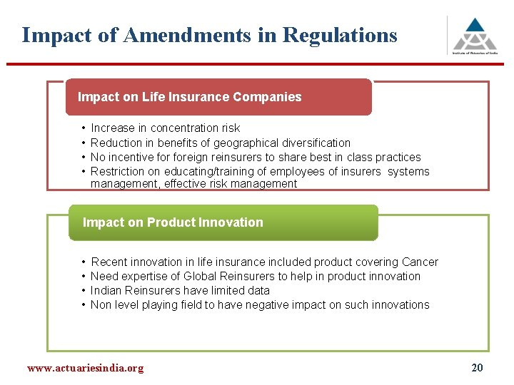 Impact of Amendments in Regulations Impact on Life Insurance Companies • • Increase in