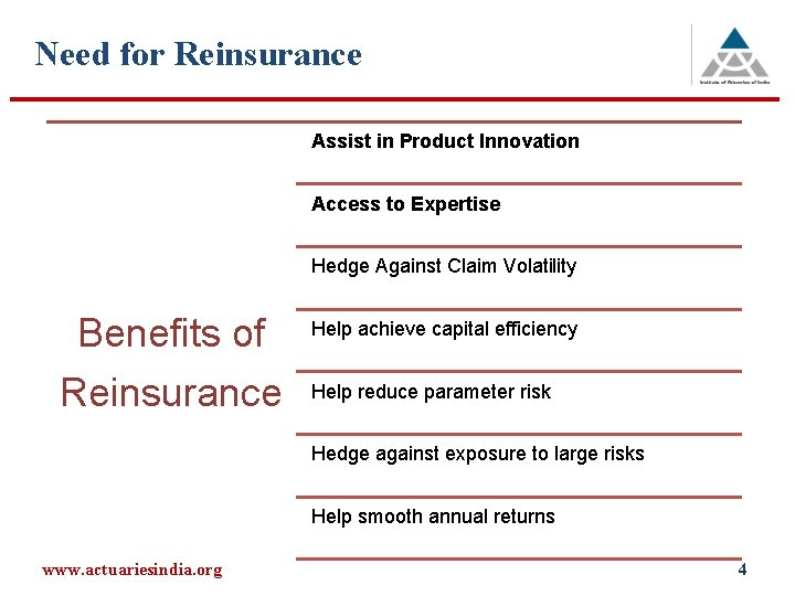 Need for Reinsurance Assist in Product Innovation Access to Expertise Hedge Against Claim Volatility