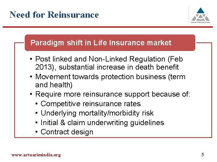 Need for Reinsurance Paradigm shift in Life Insurance market • Post linked and Non-Linked