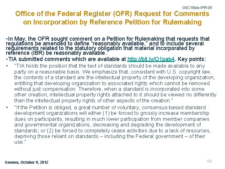 GSC 16 bis-IPR-05 Office of the Federal Register (OFR) Request for Comments on Incorporation