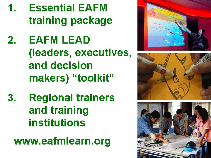 """1. Essential EAFM training package 2. EAFM LEAD (leaders, executives, and decision makers) """"toolkit"""""""
