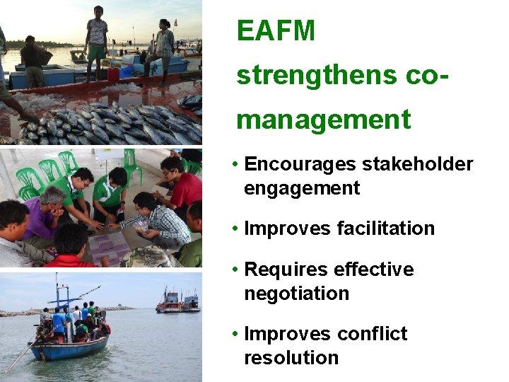 EAFM strengthens comanagement • Encourages stakeholder engagement • Improves facilitation • Requires effective negotiation