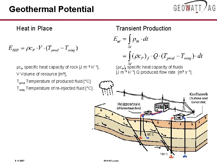 Geothermal Potential Heat in Place Transient Production rc. P specific heat capacity of rock