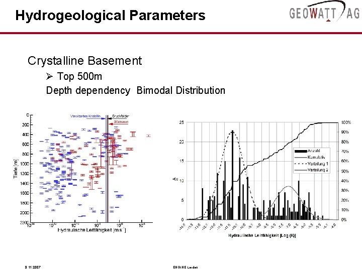 Hydrogeological Parameters Crystalline Basement Ø Top 500 m Depth dependency Bimodal Distribution 8. 11.