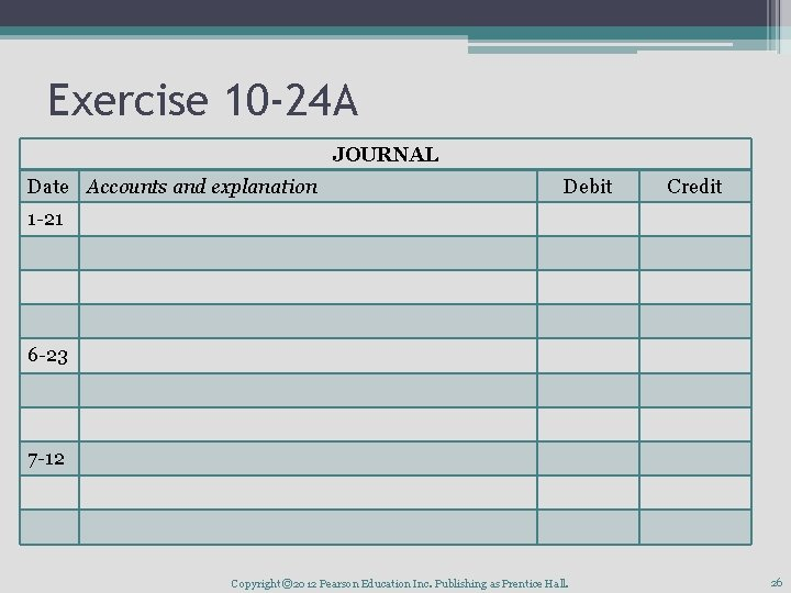 Exercise 10 -24 A JOURNAL Date Accounts and explanation Debit Credit 1 -21 6