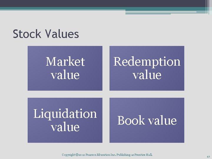 Stock Values Market value Redemption value Liquidation value Book value Copyright © 2012 Pearson
