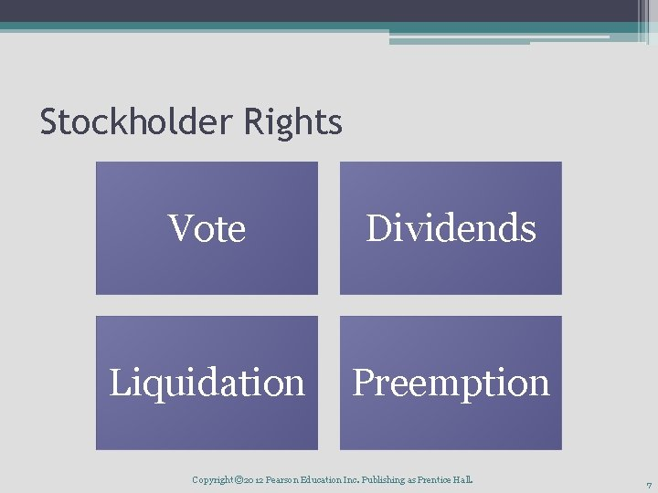 Stockholder Rights Vote Dividends Liquidation Preemption Copyright © 2012 Pearson Education Inc. Publishing as