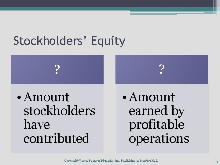 Stockholders' Equity ? ? • Amount stockholders have contributed • Amount earned by profitable
