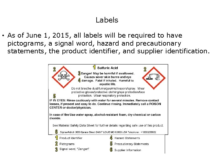 Safety Labels • As of June 1, 2015, all labels will be required to