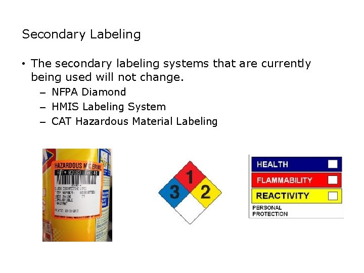 SAFETY Secondary Labeling • The secondary labeling systems that are currently being used will